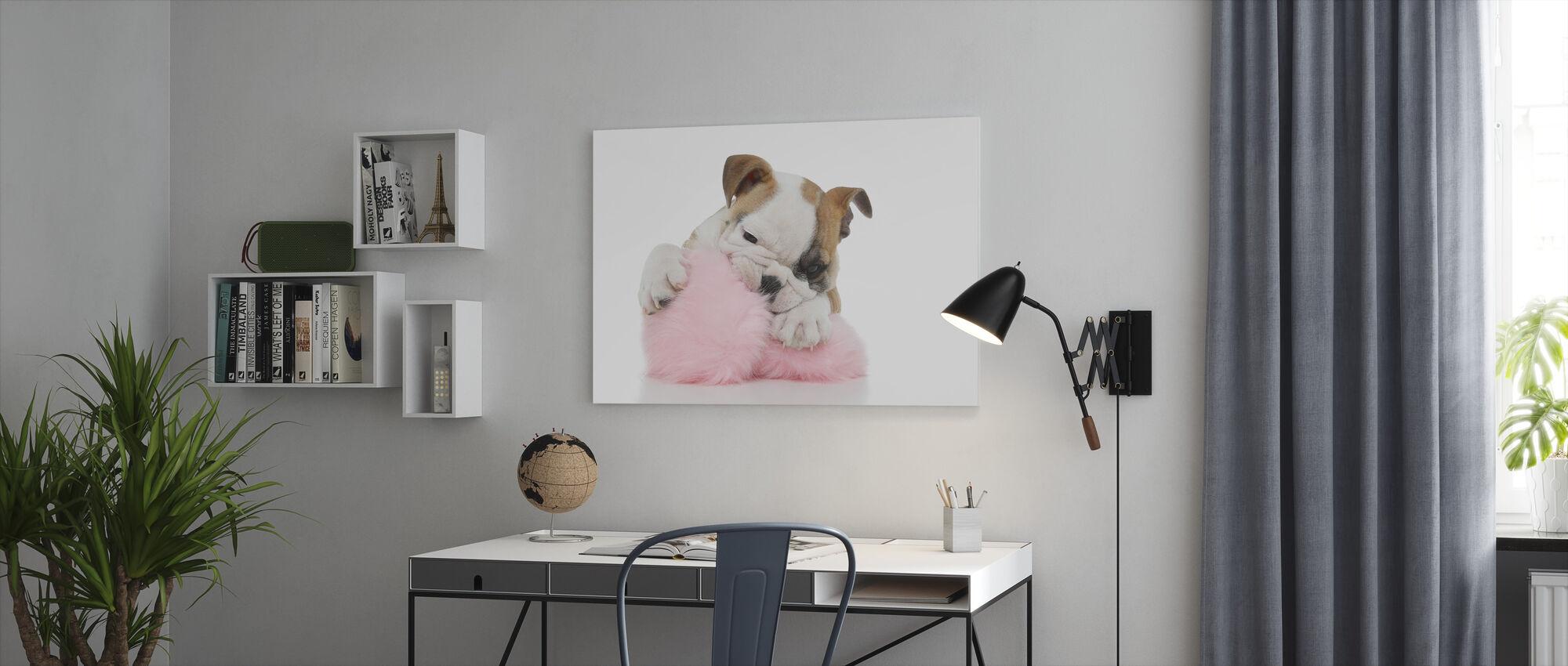 Mischievous Bulldog Puppy - Canvas print - Office