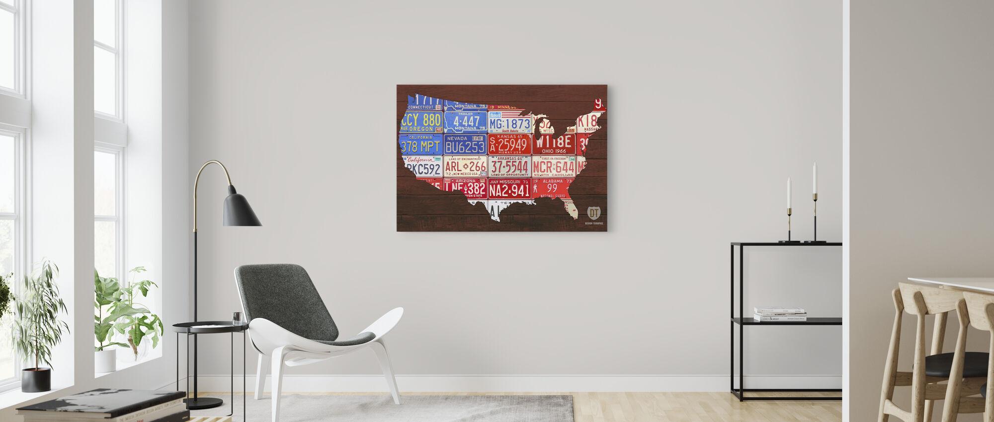 USA Flag Kort - Billede på lærred - Stue