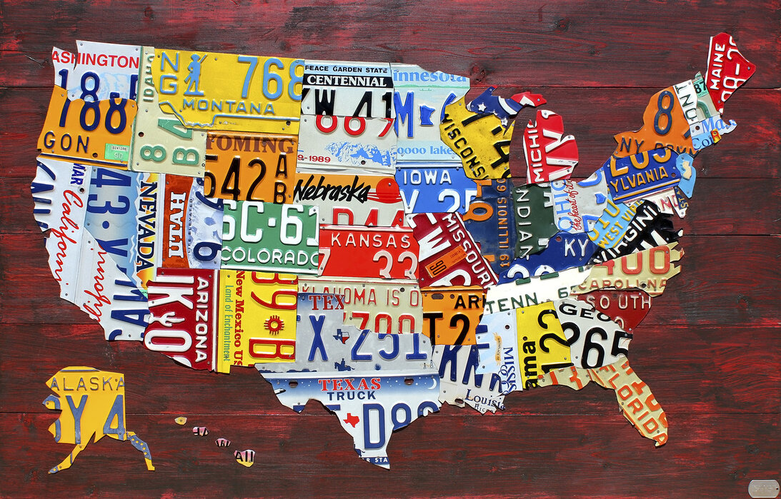 USA Map License Plates – affordable canvas prints online ...