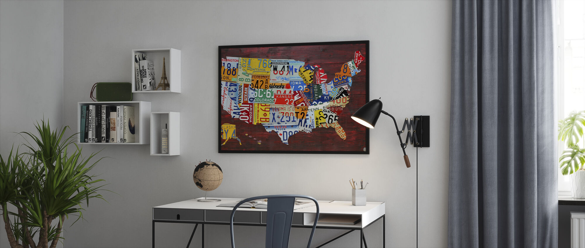USA Map License Plates - Framed print - Office