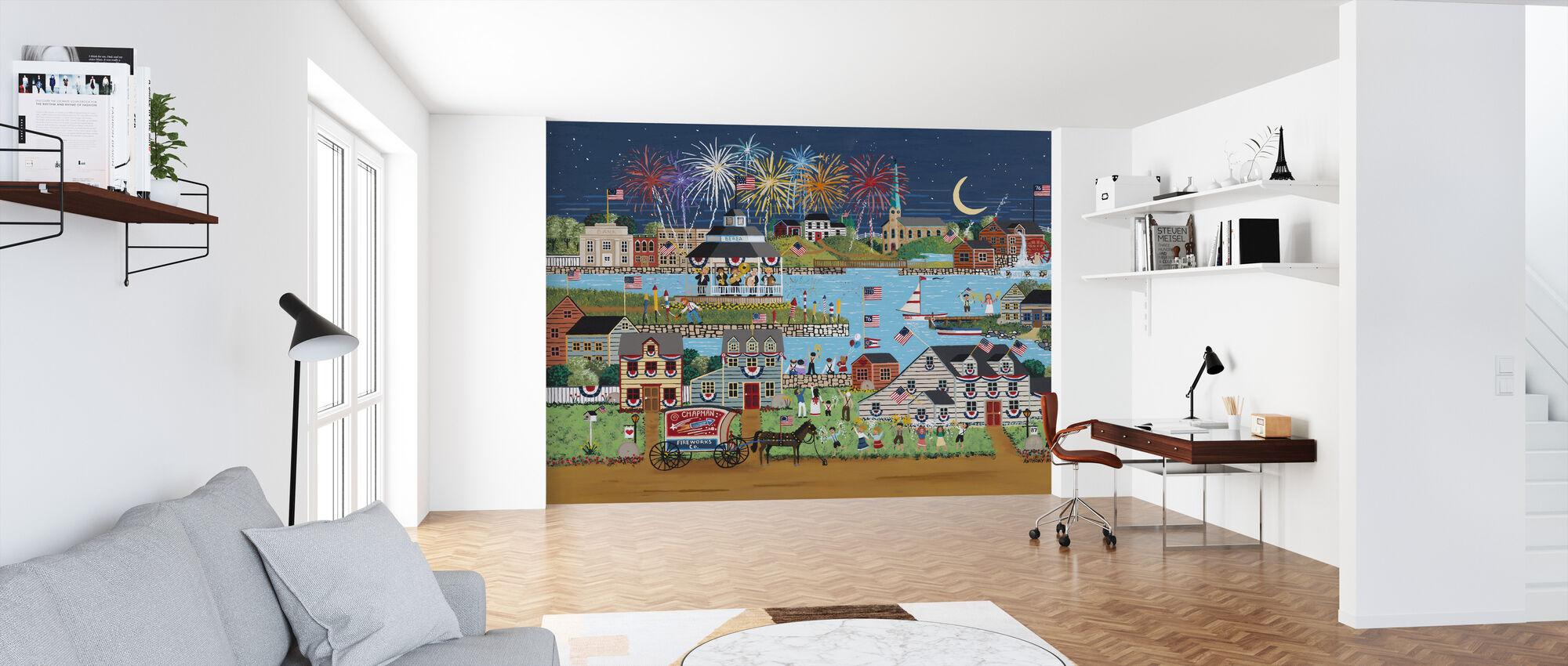 Fireworks over Coe Lake - Wallpaper - Office