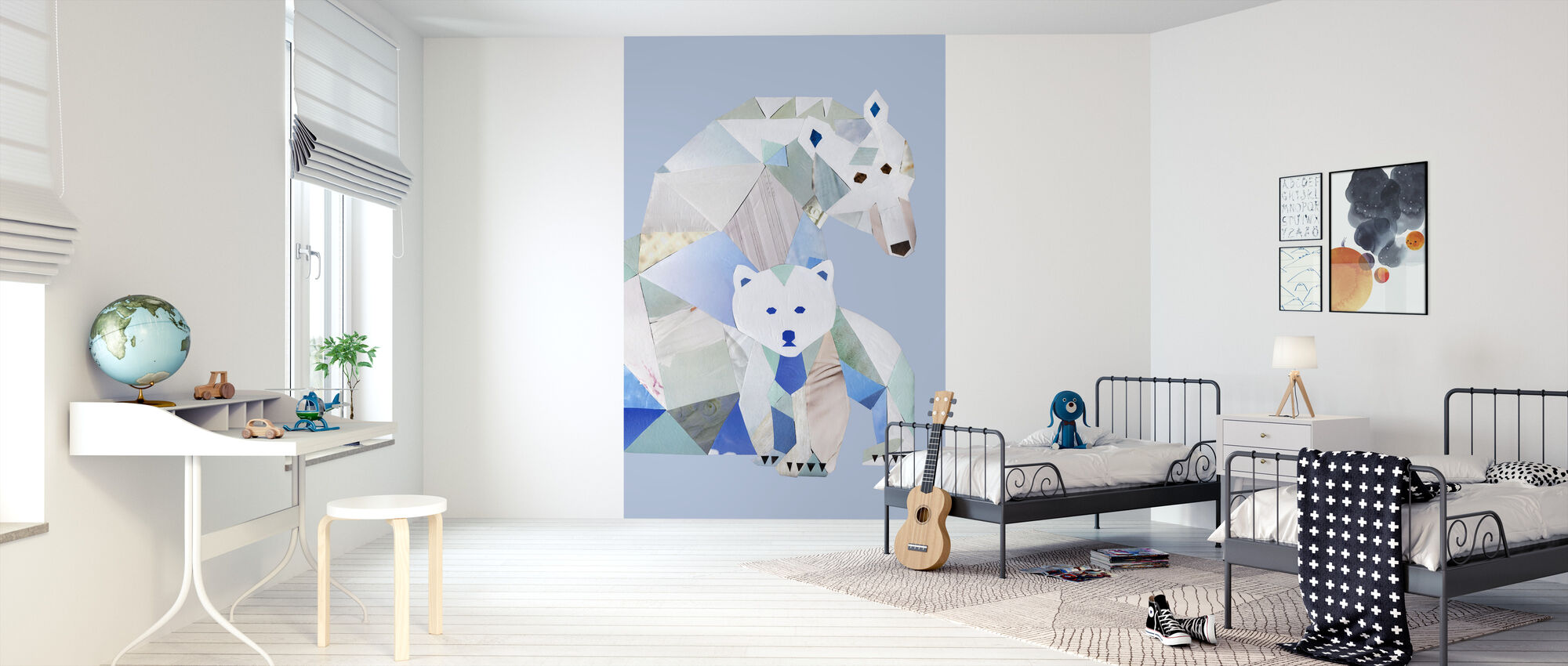 Polar Bears Gray - Wallpaper - Kids Room