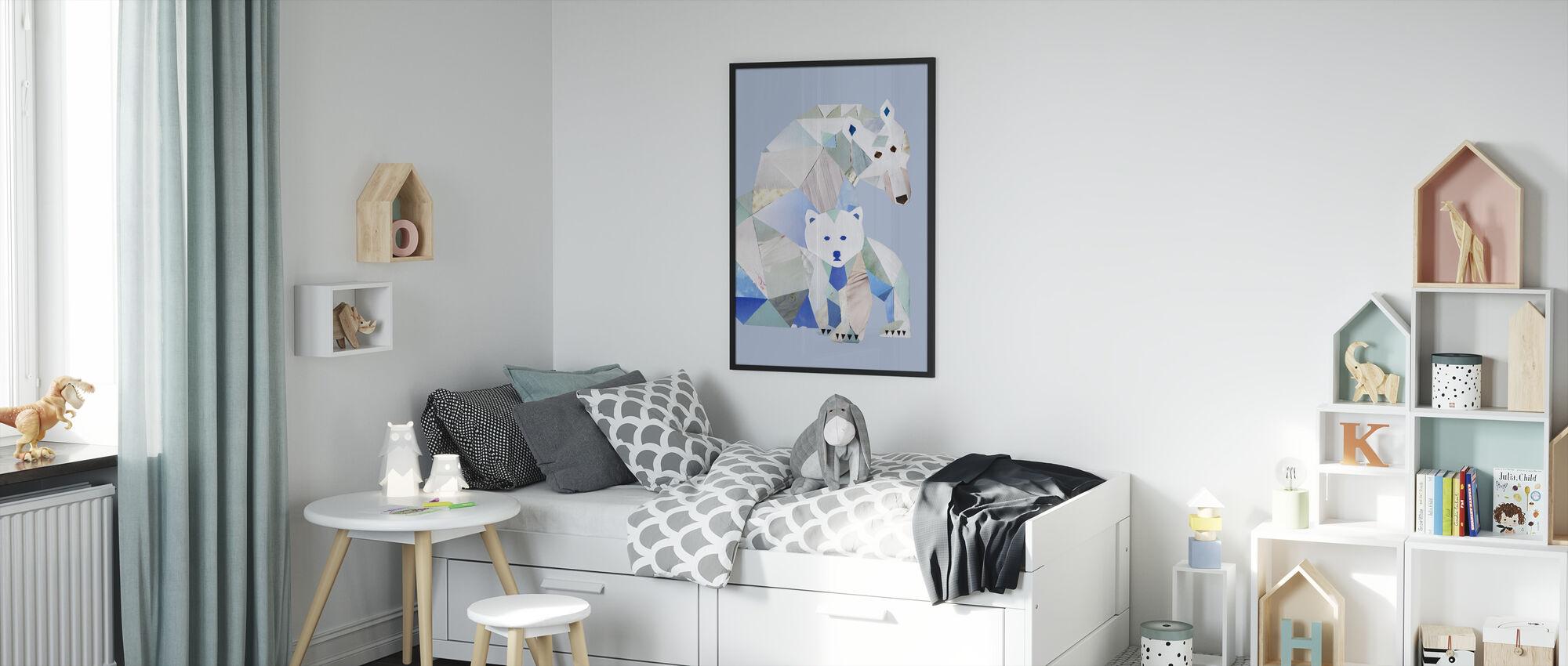 Polar Bears Gray - Framed print - Kids Room