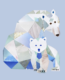 Fototapet - Polar Bears Gray
