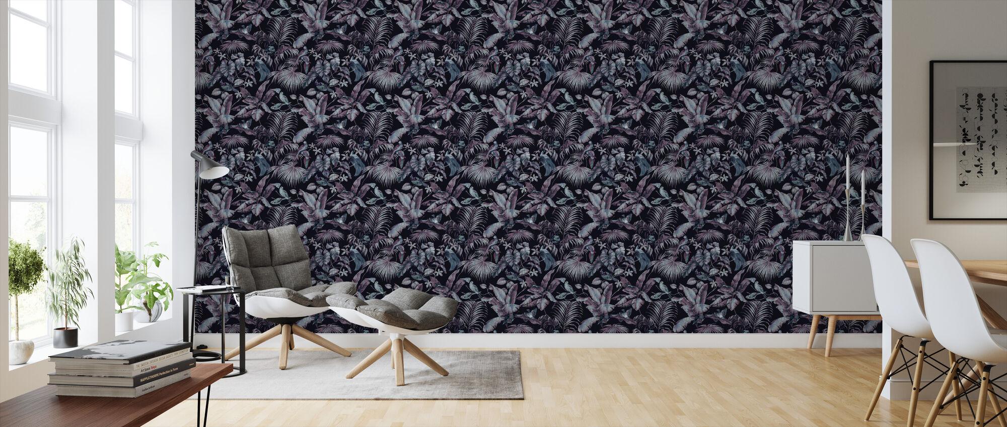 Jungle Canopy Midnight - Wallpaper - Living Room