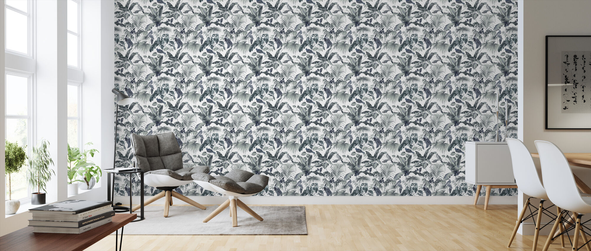 Jungle Canopy 2 Steel Gray - Wallpaper - Living Room