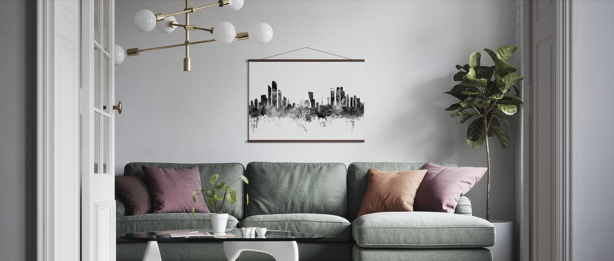 Abu Dhabi Skyline Zwart - Poster - Woonkamer