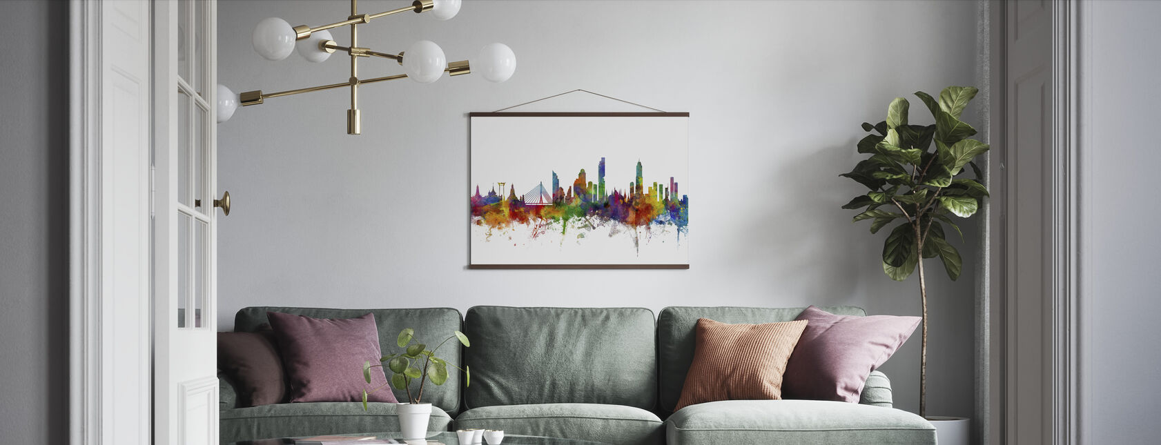 Bangkok Skyline - Poster - Living Room