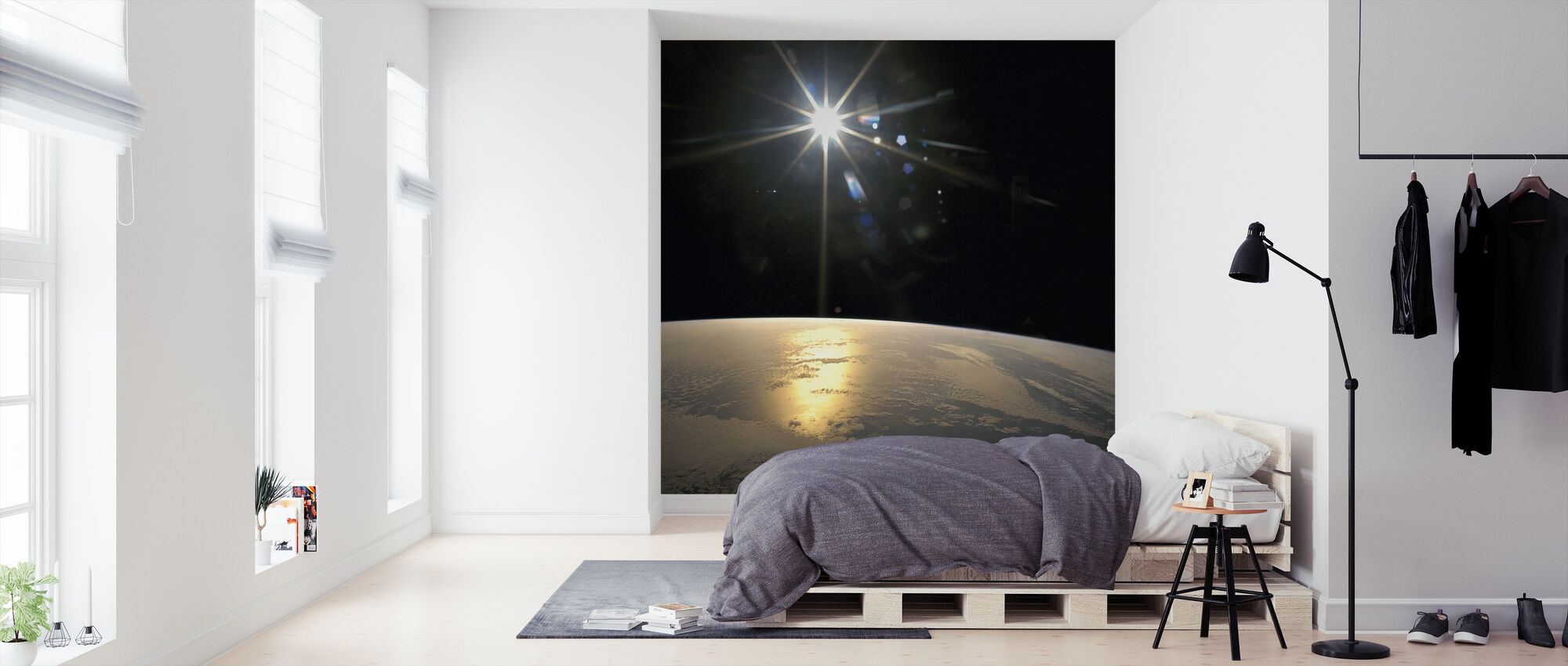 Auringonsäteitä putoavat maan päällä - Tapetti - Makuuhuone