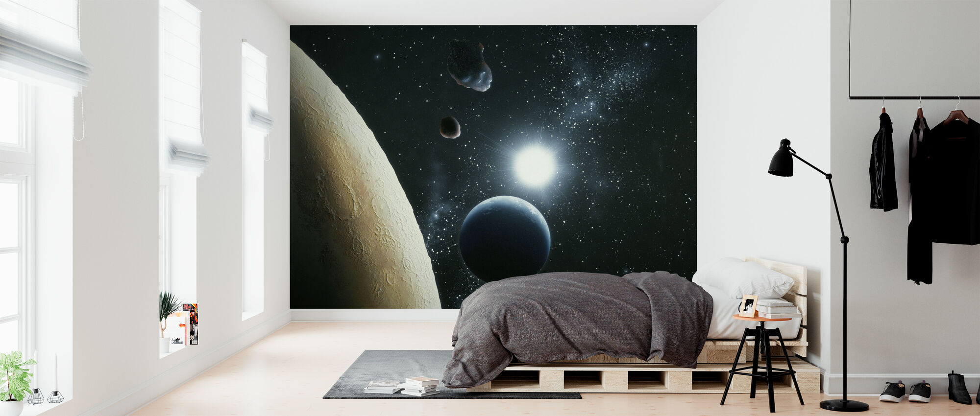 The Moon and Earth - Wallpaper - Bedroom