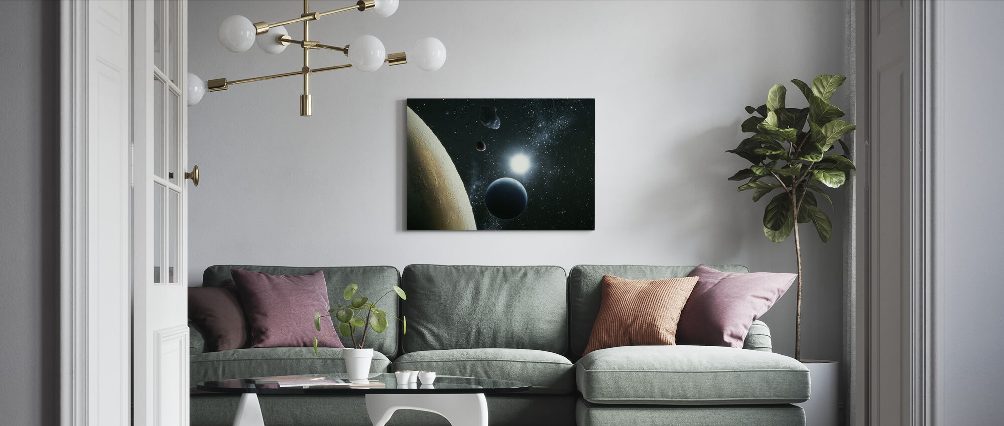The Moon and Earth - Canvas print - Living Room