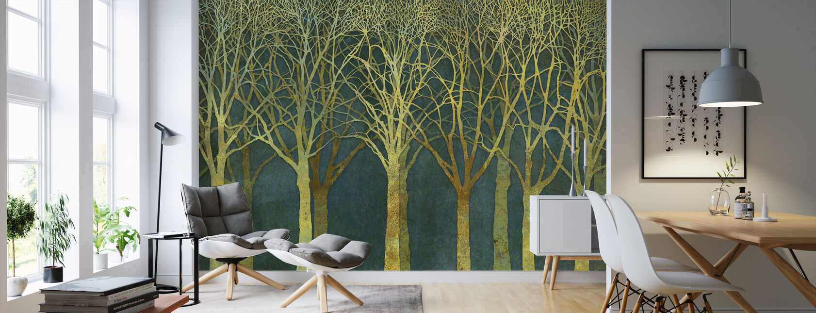 Birch Grove Golden Light - Wallpaper - Living Room