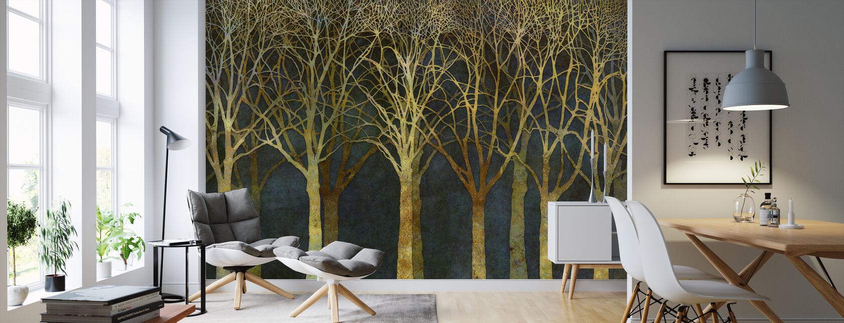 Birch Grove Moonlight - Wallpaper - Living Room