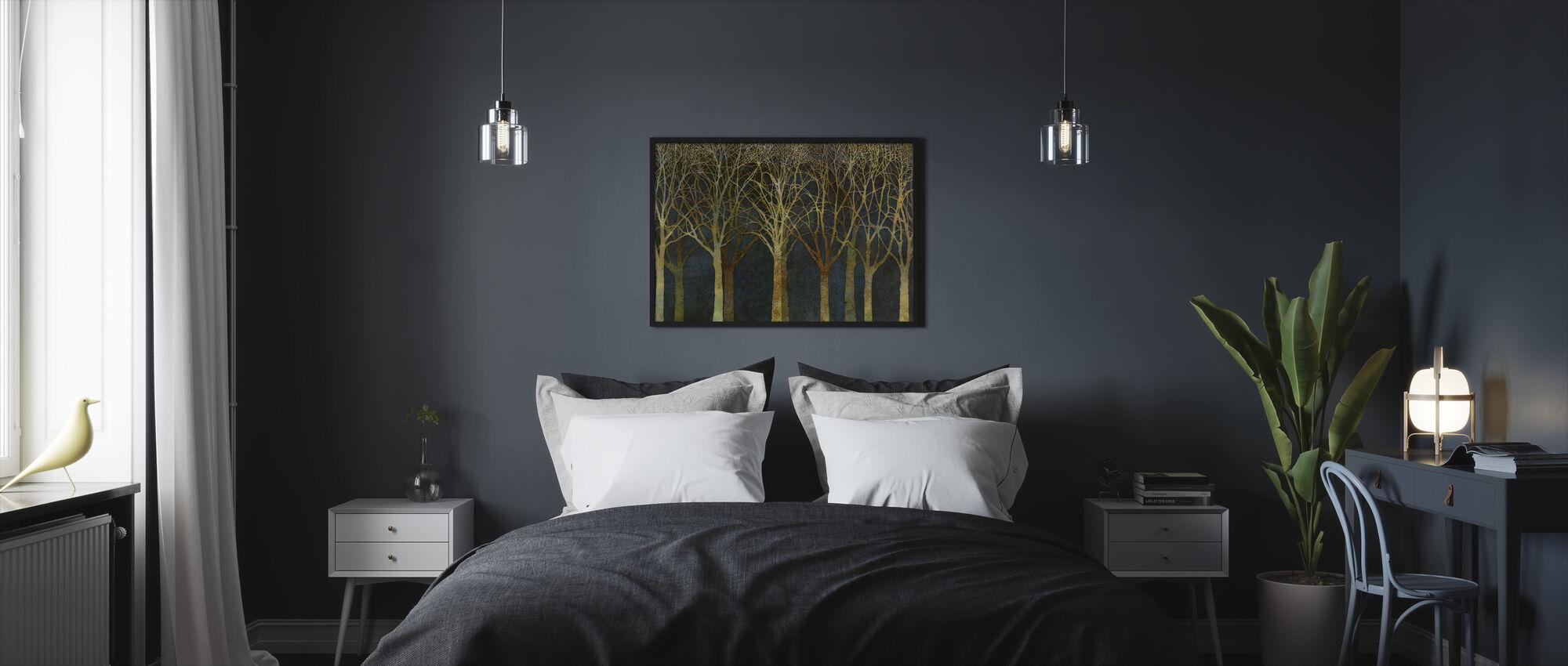 Birch Grove Moonlight - Framed print - Bedroom