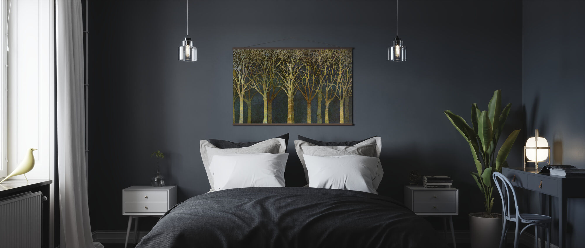 Birch Grove Moonlight - Poster - Bedroom