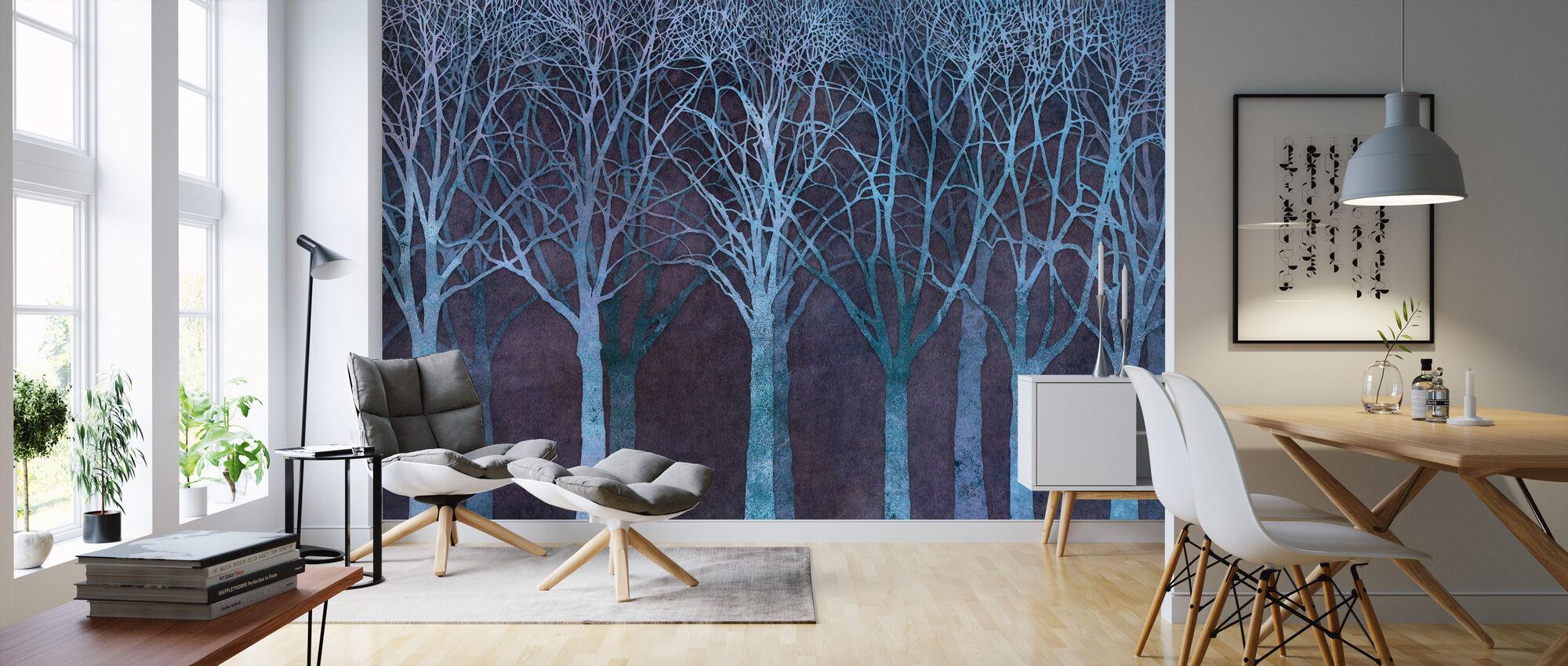 Birch Grove Night Blue - Wallpaper - Living Room