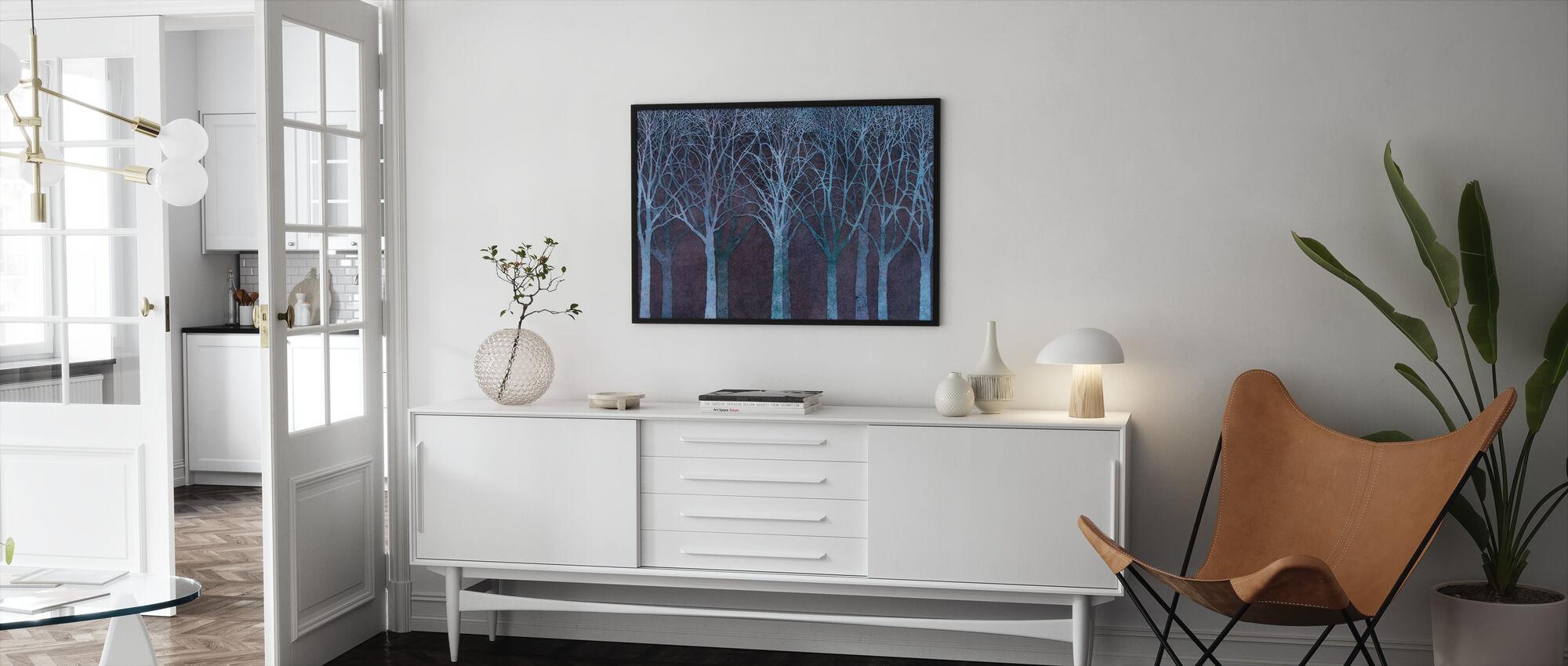 Birch Grove Night Blue - Framed print - Living Room