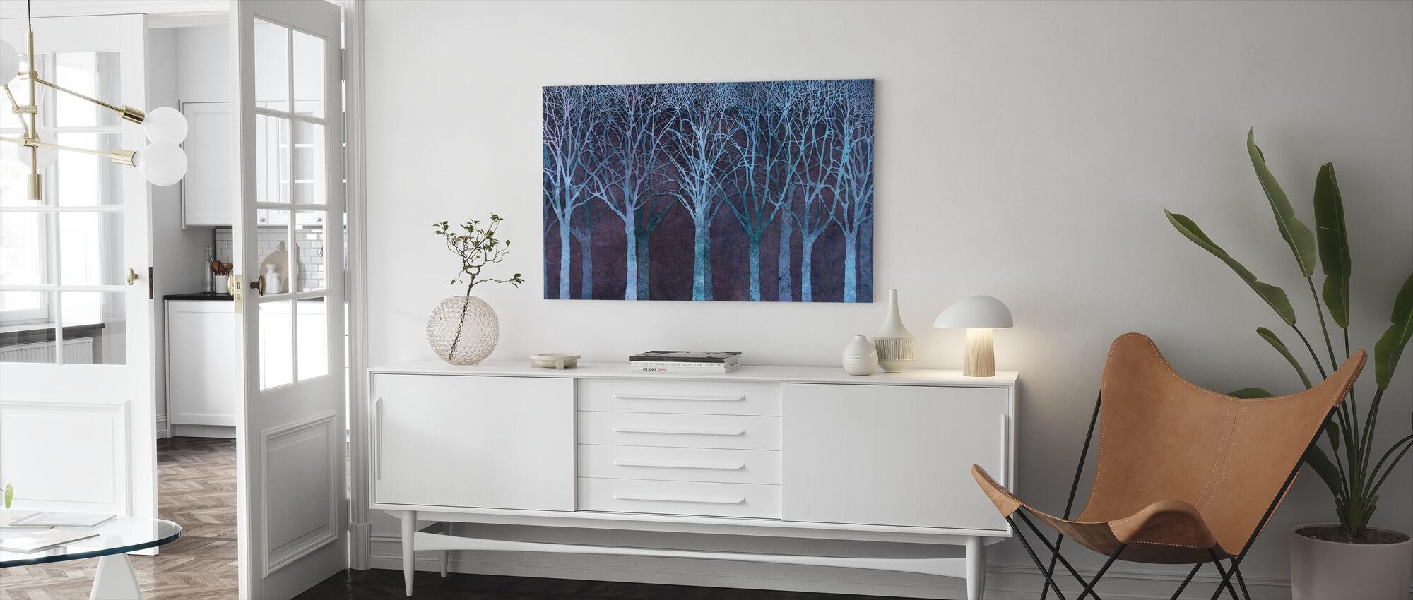 Birch Grove Night Blue - Canvas print - Living Room