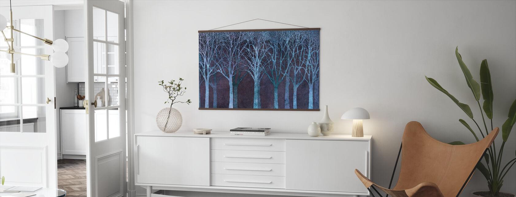 Birch Grove Night Blue - Poster - Living Room