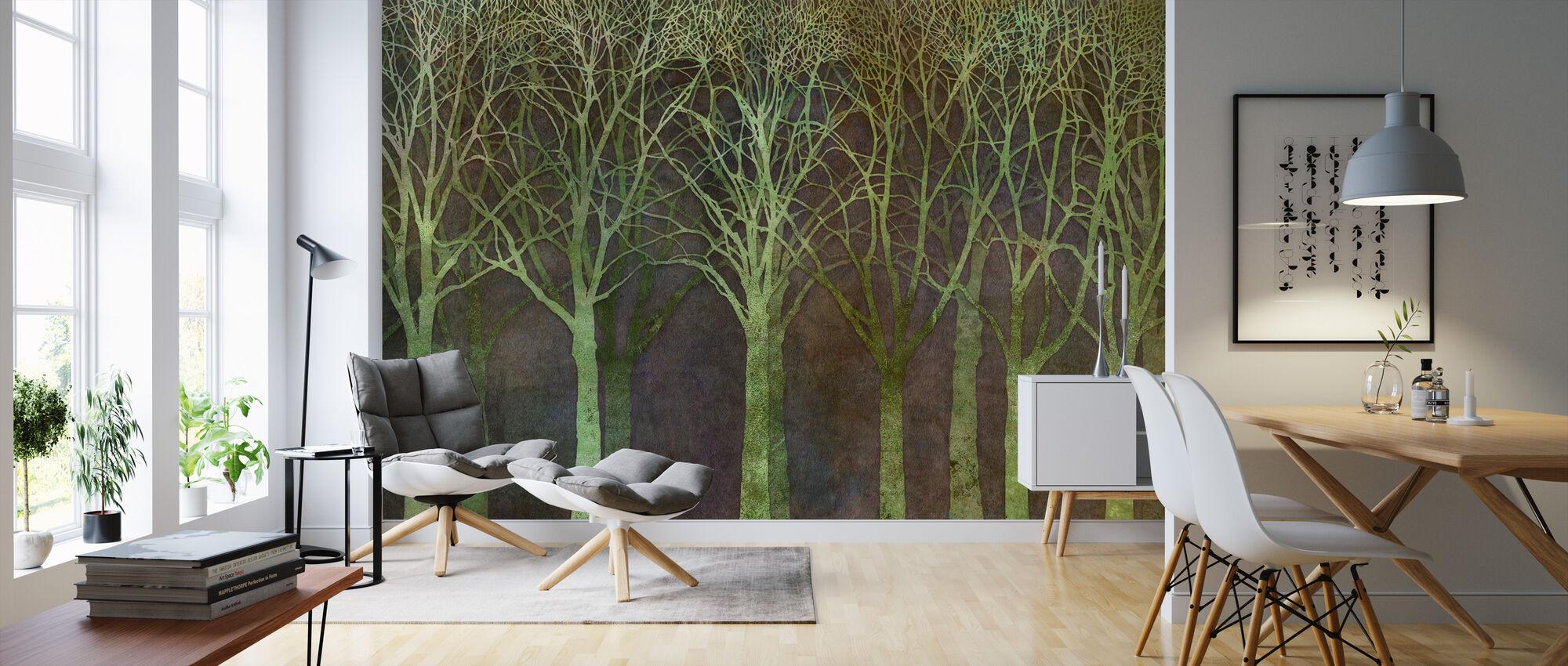 Björk Grove Natt Grön - Tapet - Vardagsrum