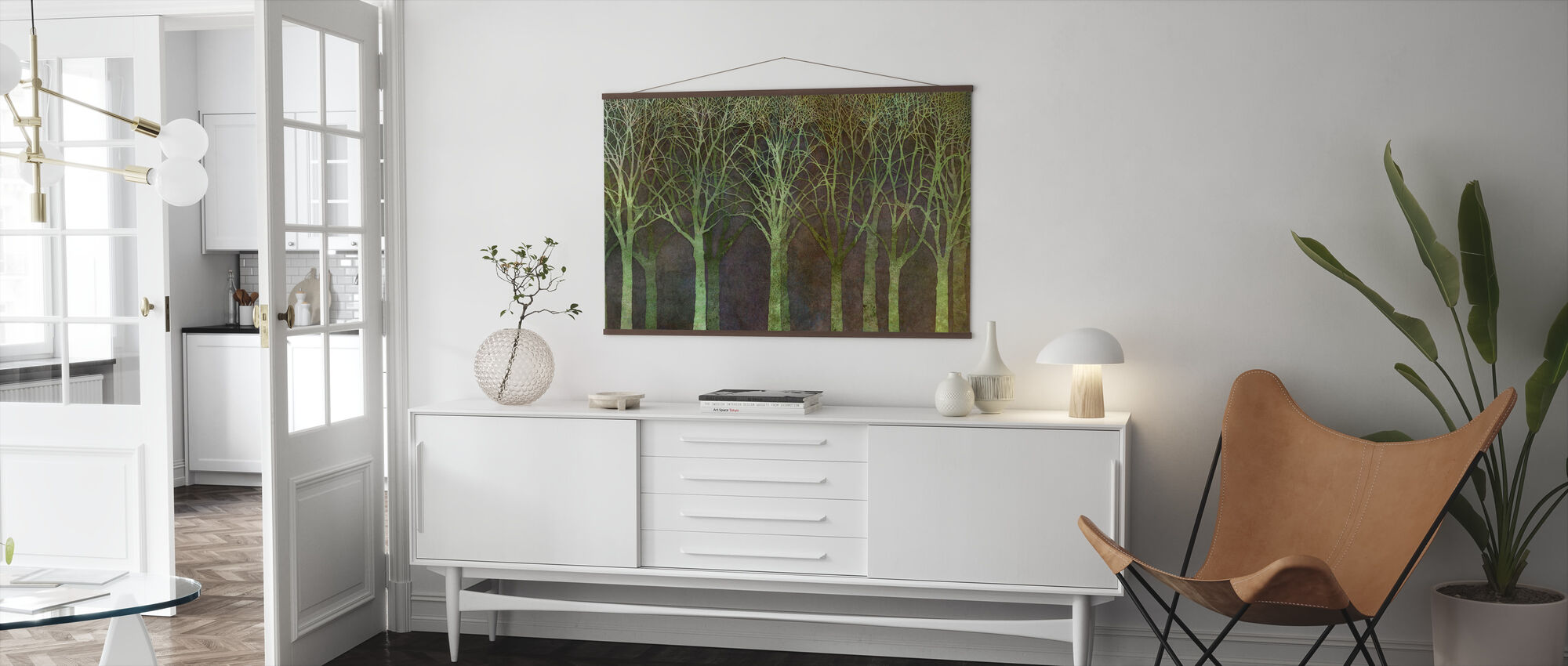 Birch Grove Night Green - Poster - Living Room