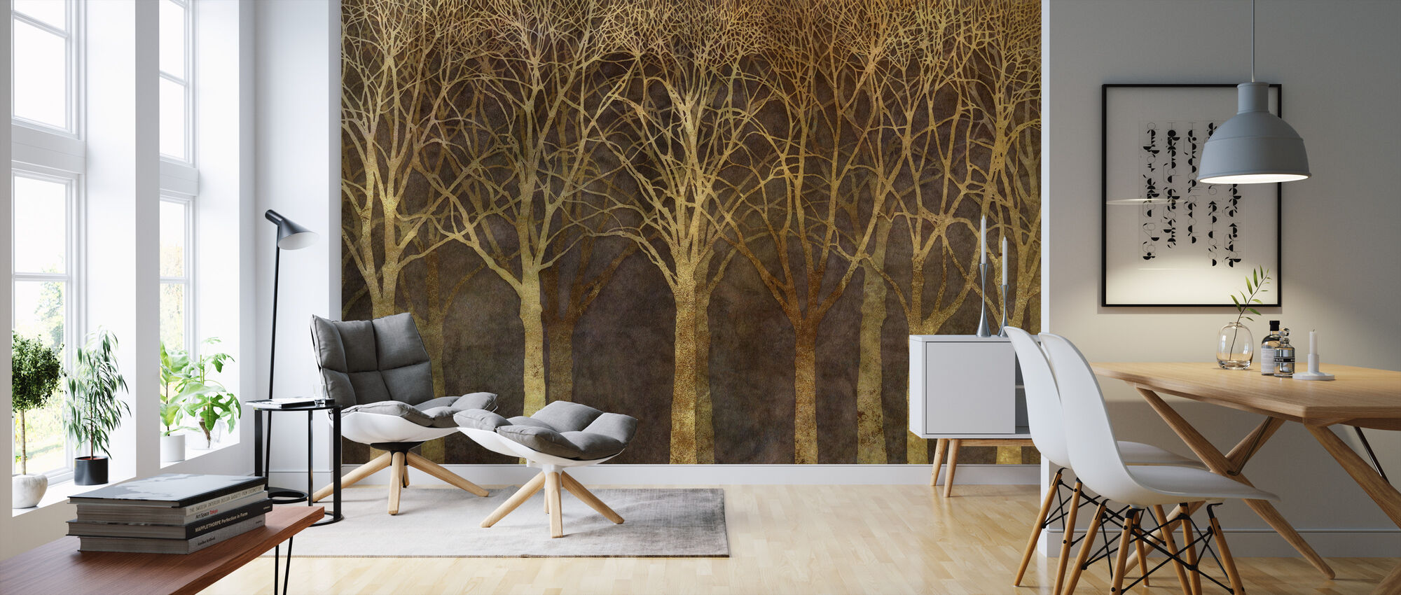 Birch Grove Night Sepia - Wallpaper - Living Room