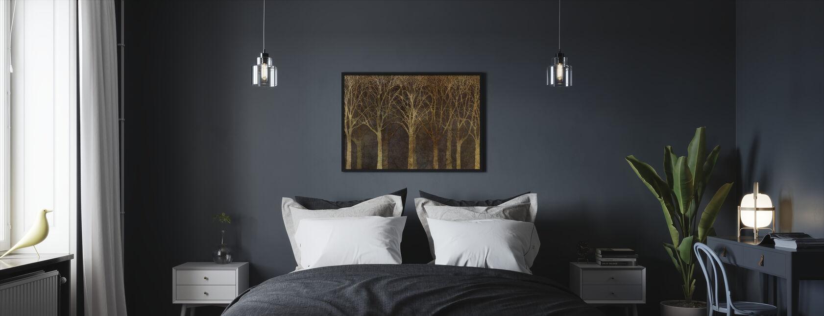 Birch Grove Night Sepia - Framed print - Bedroom