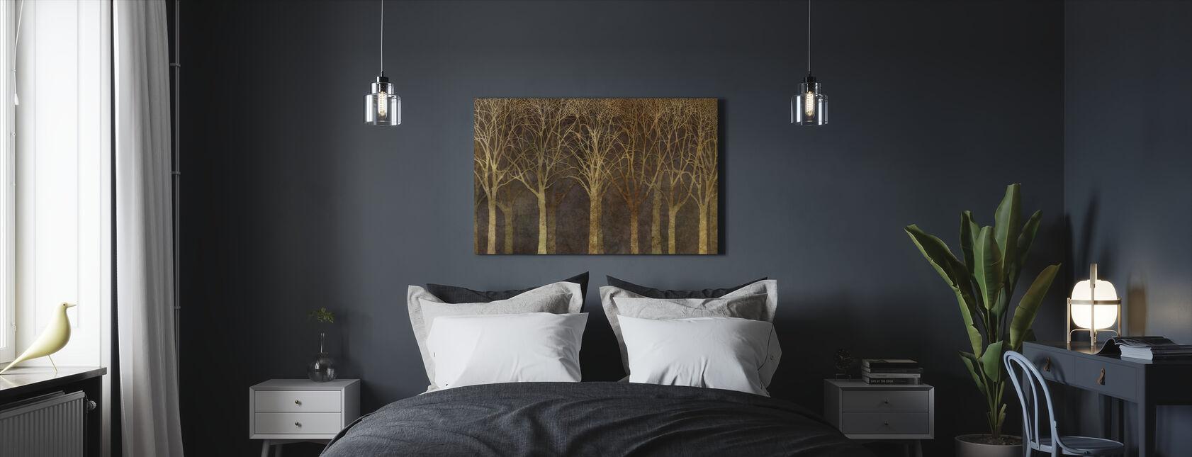 Birch Grove Night Sepia - Canvas print - Bedroom