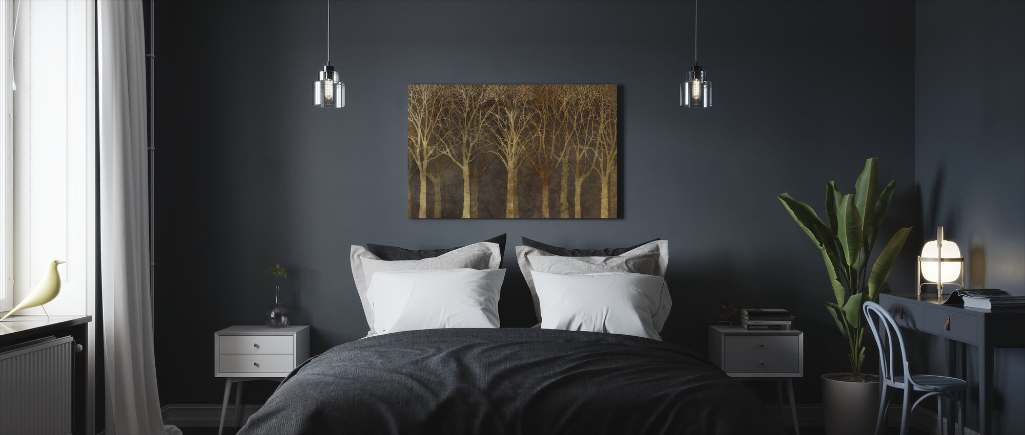 Birch Grove Night Sepia - Canvas print - Bedroom