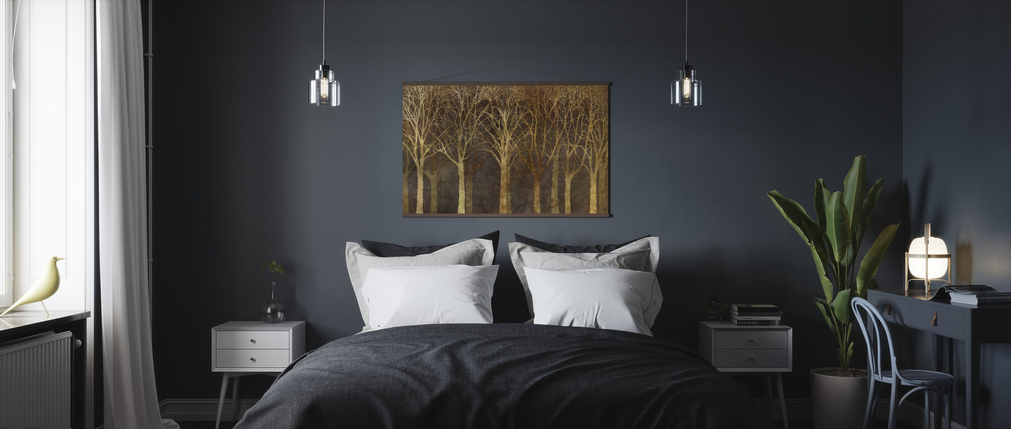 Birch Grove Night Sepia - Poster - Bedroom