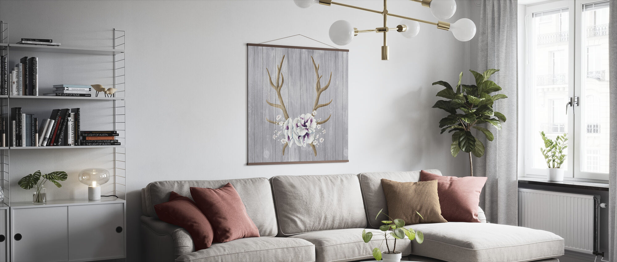 Antlers and Poppies I - Poster - Living Room