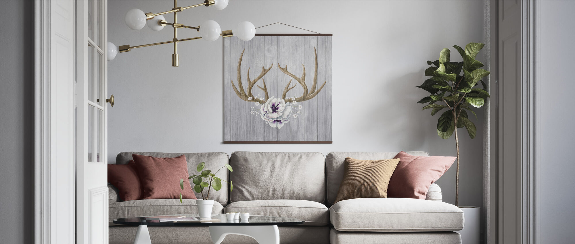 Antlers and Poppies II - Poster - Living Room