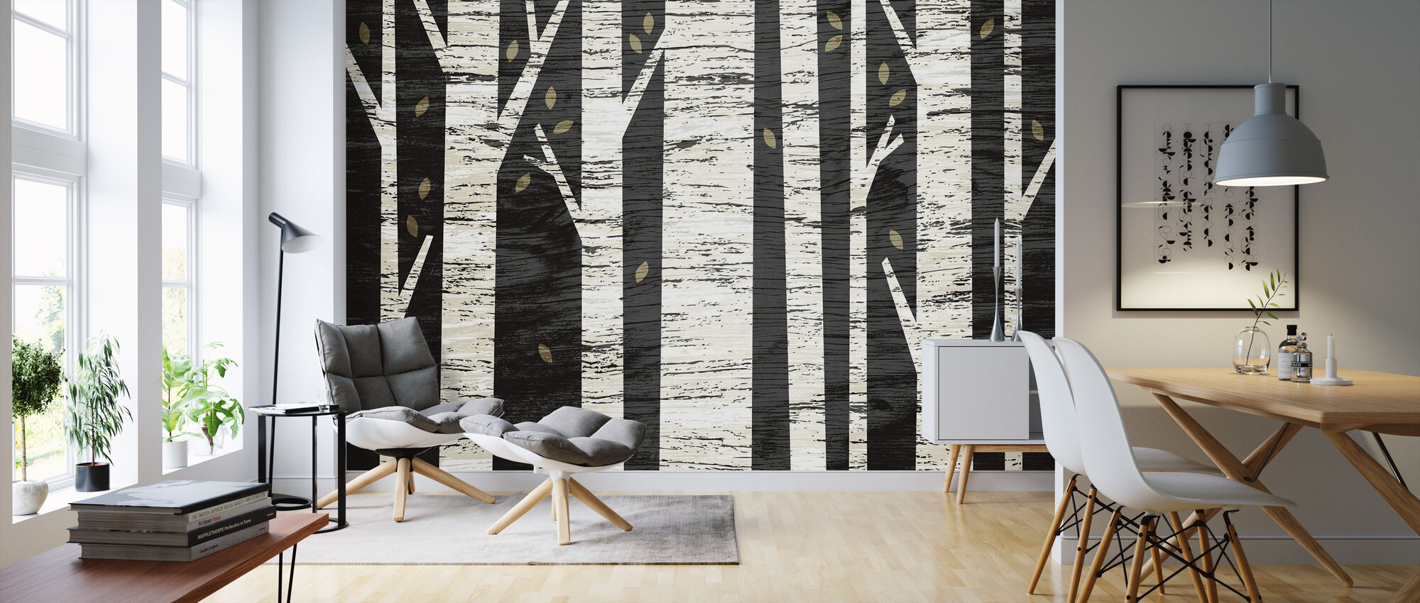 Graphic Birch Forest - Wallpaper - Living Room