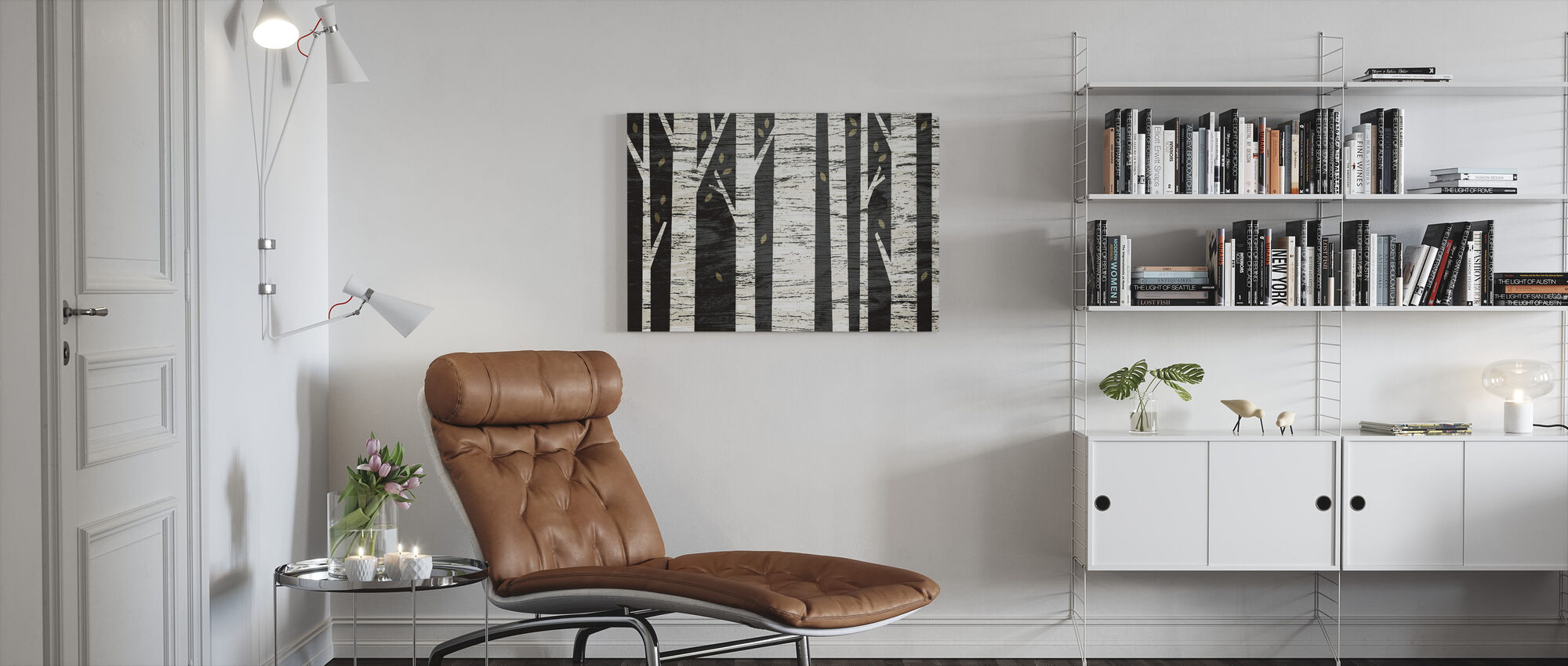 Graphic Birch Forest - Canvas print - Living Room