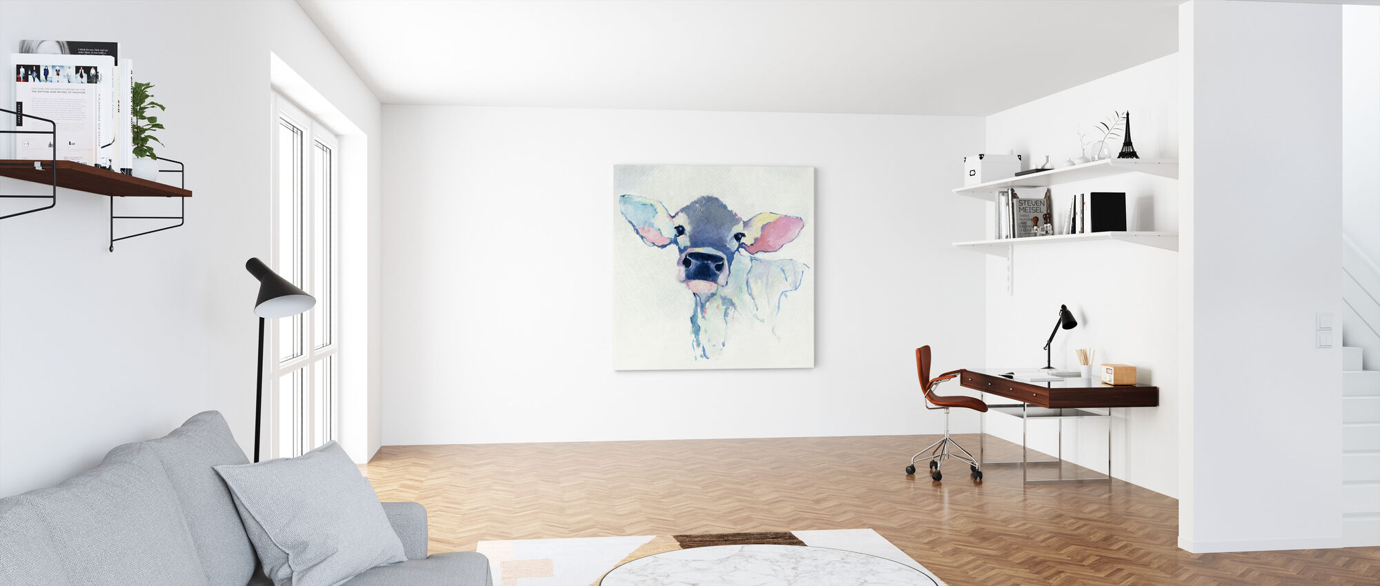 Watercolor Cow - Canvas print - Office