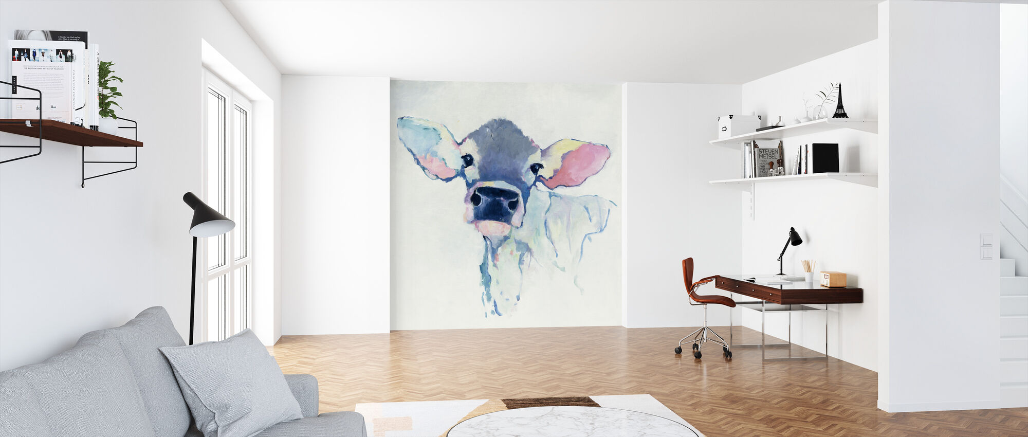 Watercolor Cow - Wallpaper - Office