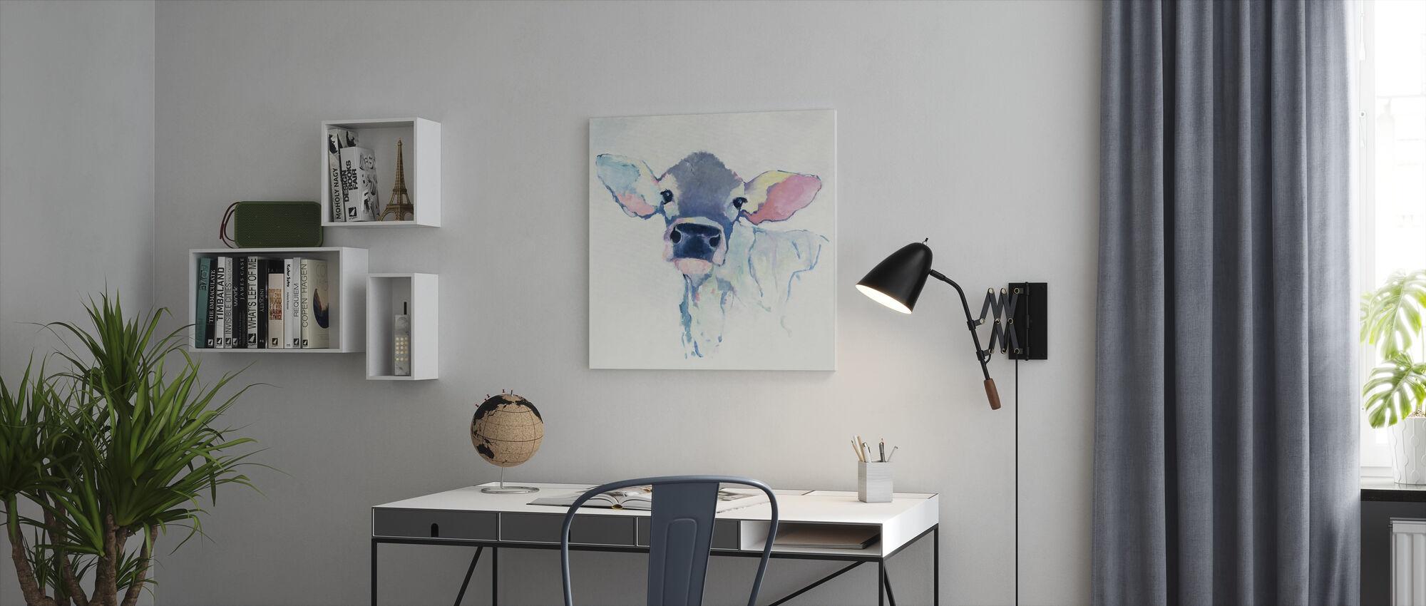 Vesiväri lehmä - Canvastaulu - Toimisto