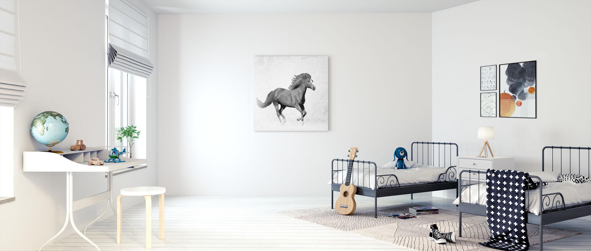 Veelhoek Horsy Zwart - Canvas print - Kinderkamer