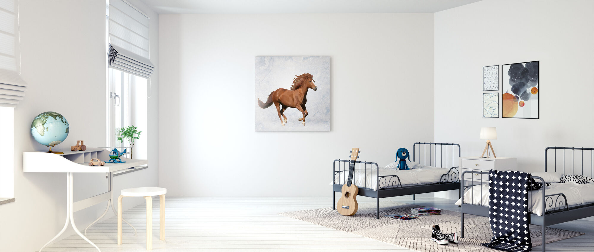 Polygon Horsy Brown - Canvas print - Kids Room