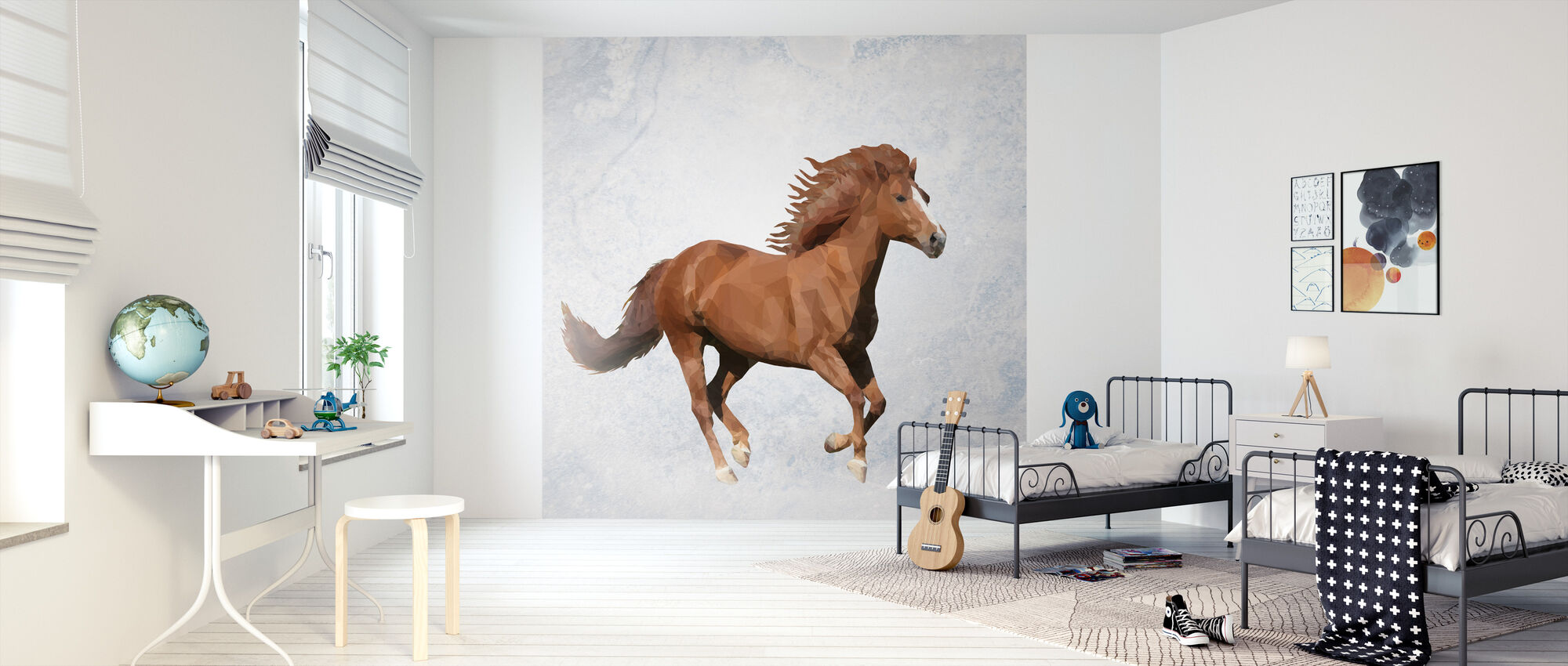 Polygon Horsy Brown - Wallpaper - Kids Room
