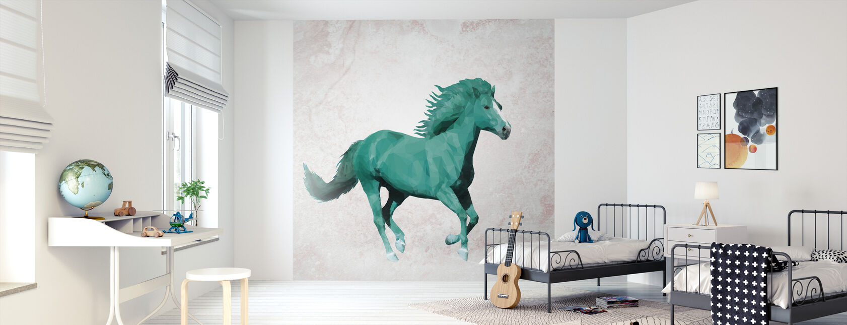Veelhoek Horsy gek - Behang - Kinderkamer