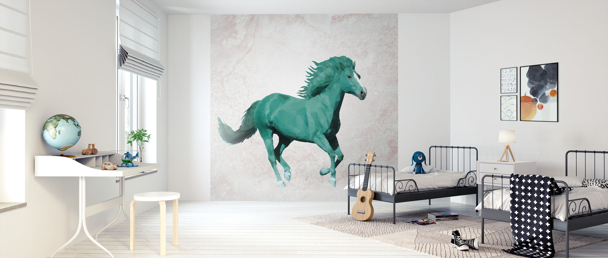 Polygon Horsy Crazy - Wallpaper - Kids Room