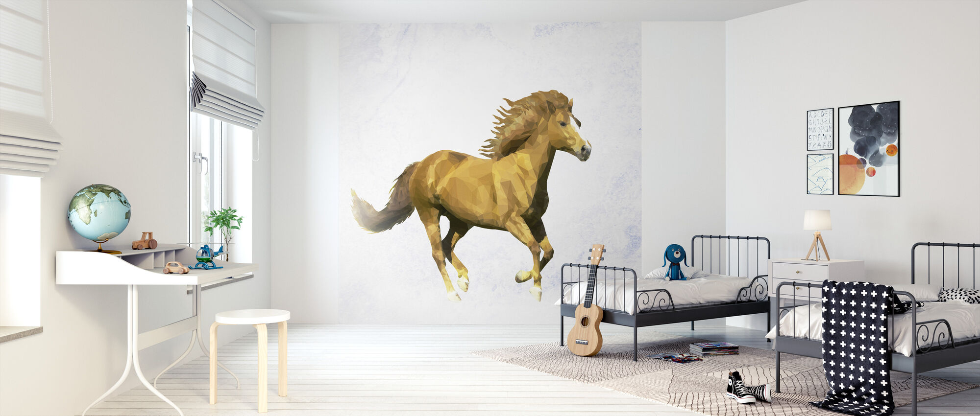 Polygon Horsy Golden - Wallpaper - Kids Room