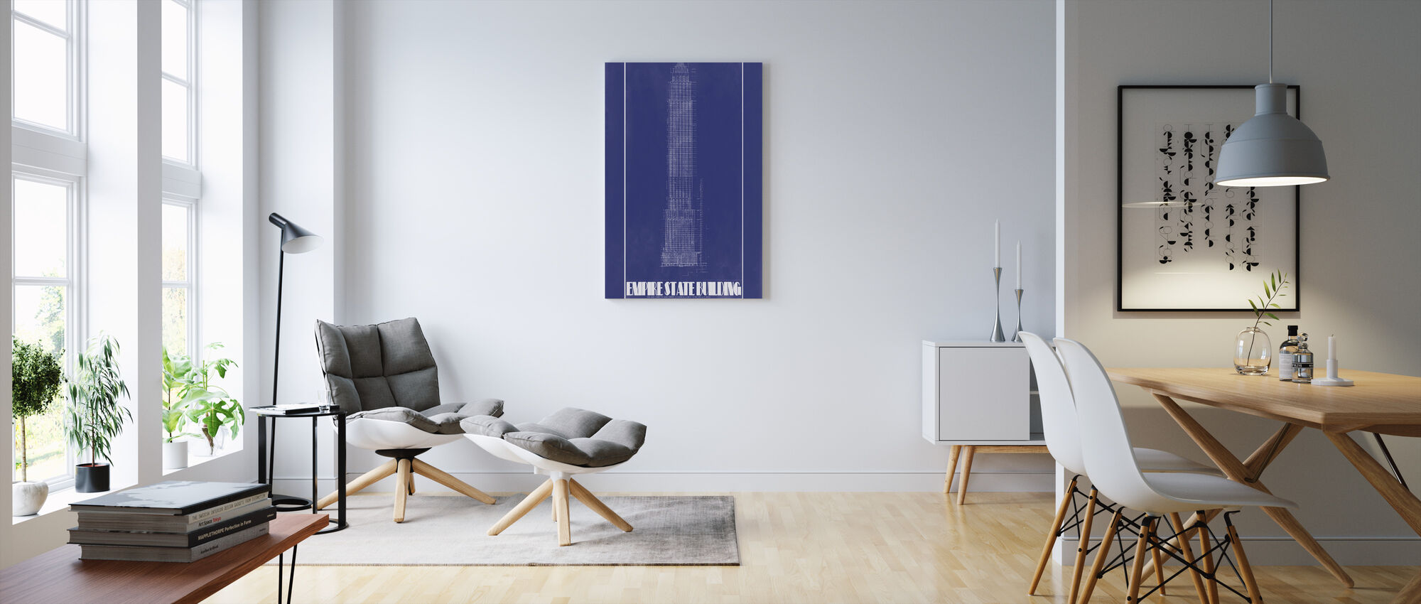 Empire State Building - Blue Print - Canvas print - Living Room
