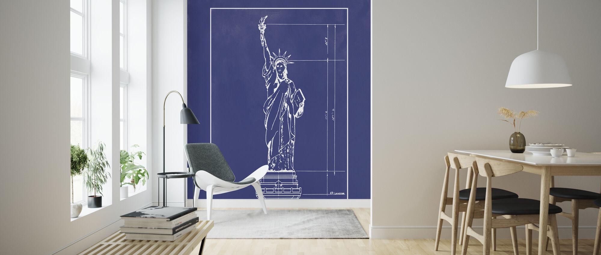 Vrijheidsbeeld - Blauwe Print - Behang - Woonkamer