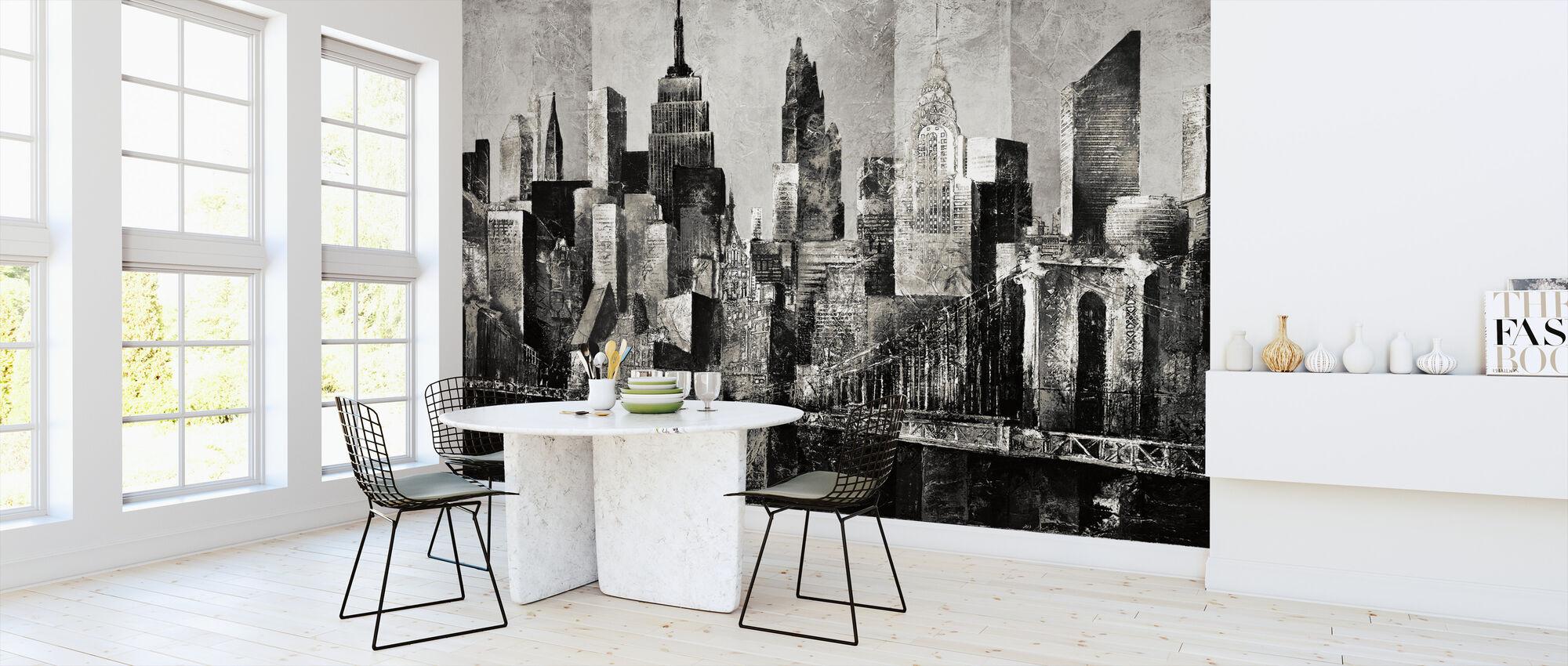 New York Skyline Art - bw - Tapet - Kök