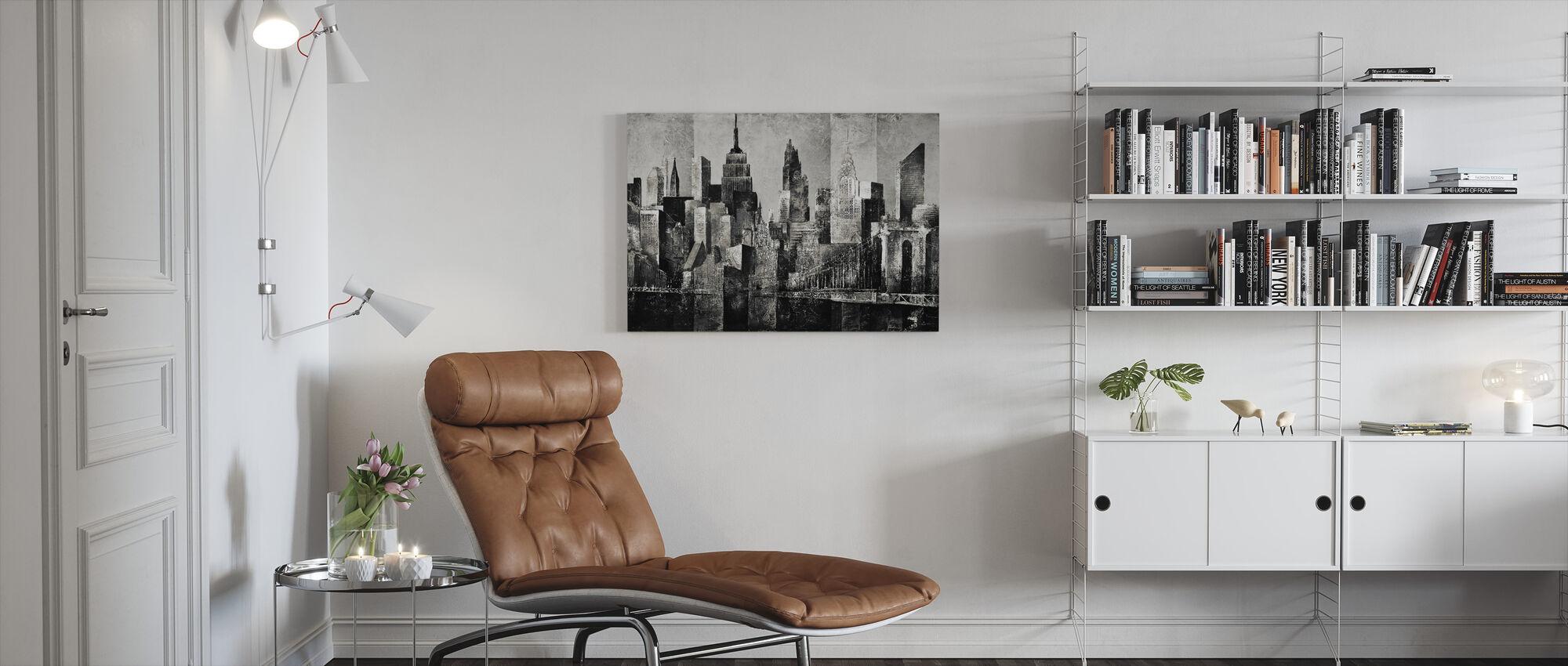 new york skyline kunst - bw - Canvas print - Woonkamer