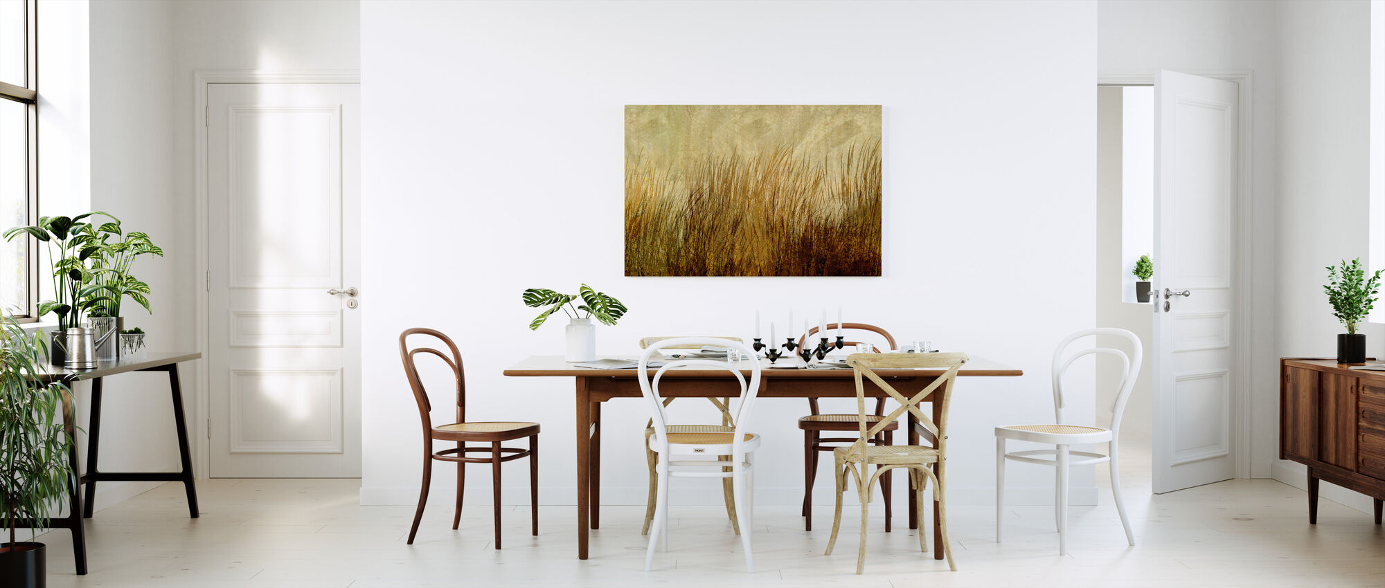 Amber Grass Silhouette - Canvas print - Kitchen