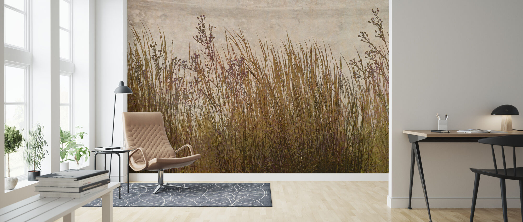 Brass Grass Silhouette - Wallpaper - Living Room
