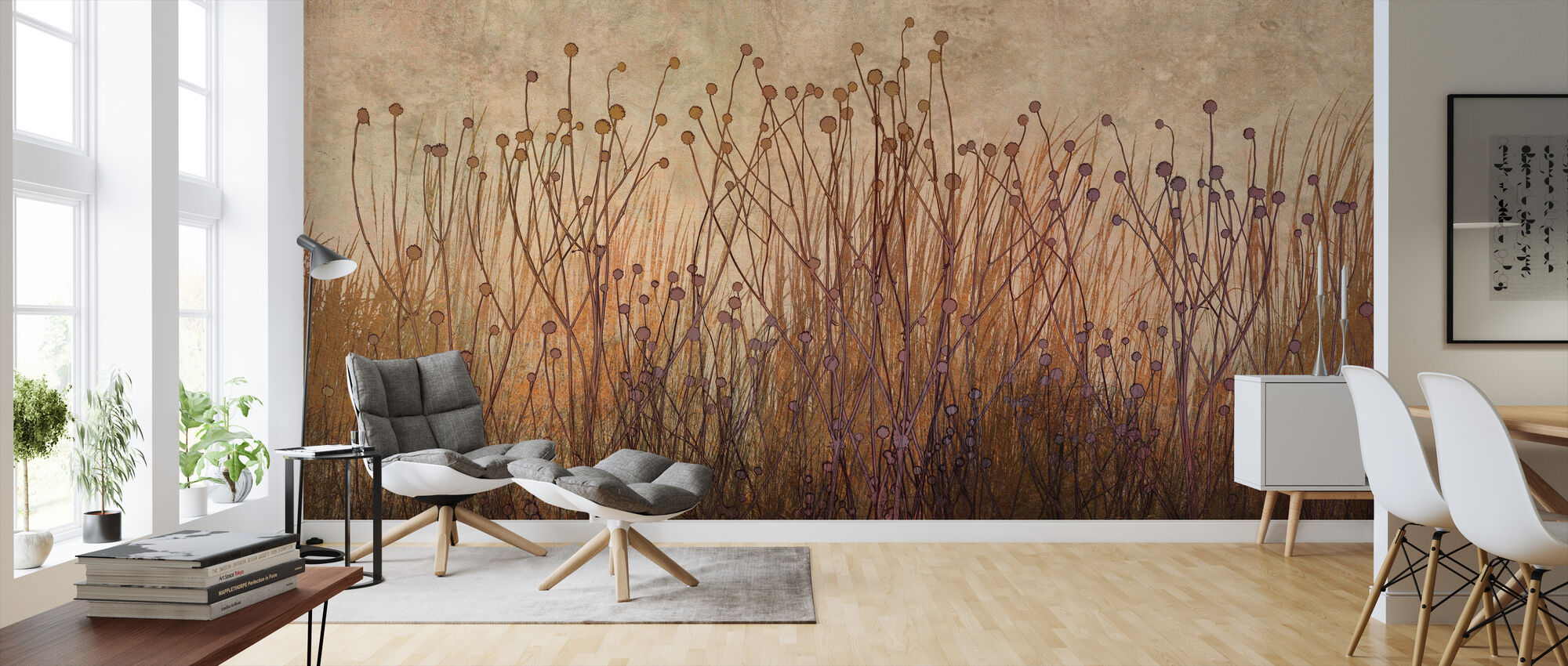 Copper Grass Silhouette - Wallpaper - Living Room